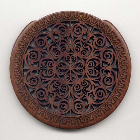 10 walnut with gothic rosette