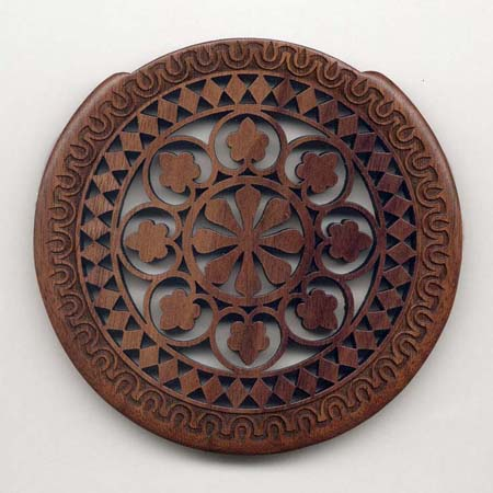 14 walnut with gothic rosette